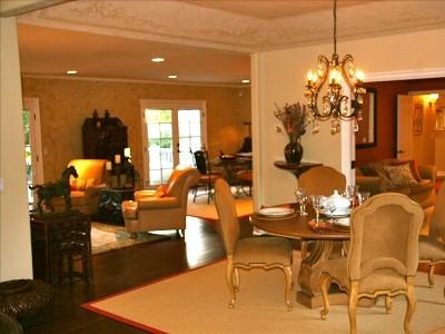 Elegant furnishings in an open floor plan.