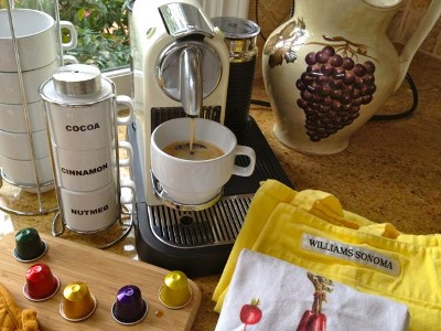 Nespresso CitiZ with milk frother and starter pack of capsules provided.